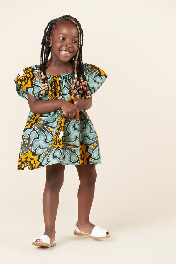 Grass-Fields Mid Lenght Dresses African Print Annabel Kid's Dress