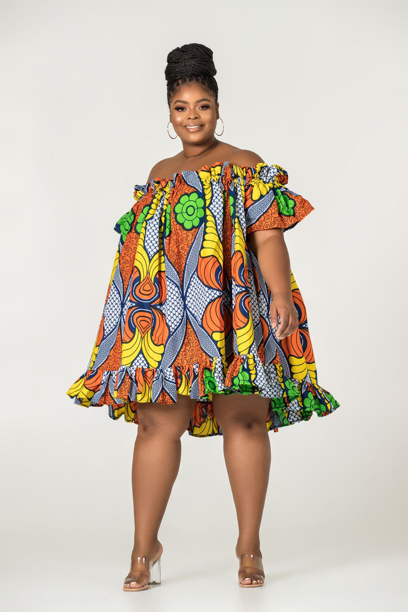 Grass-Fields Mid Lenght Dresses African Print Annika Off Shoulder Dress
