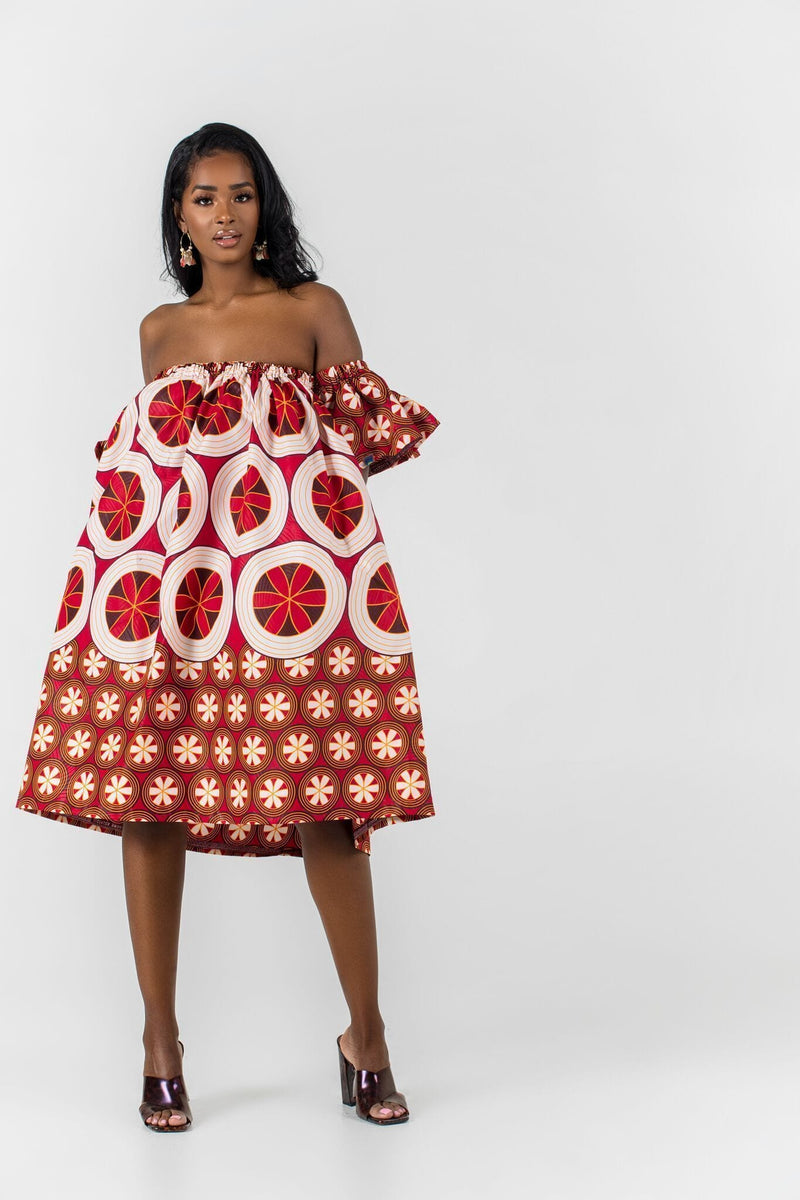 Grass-Fields Mid Lenght Dresses African Print Arona Dress