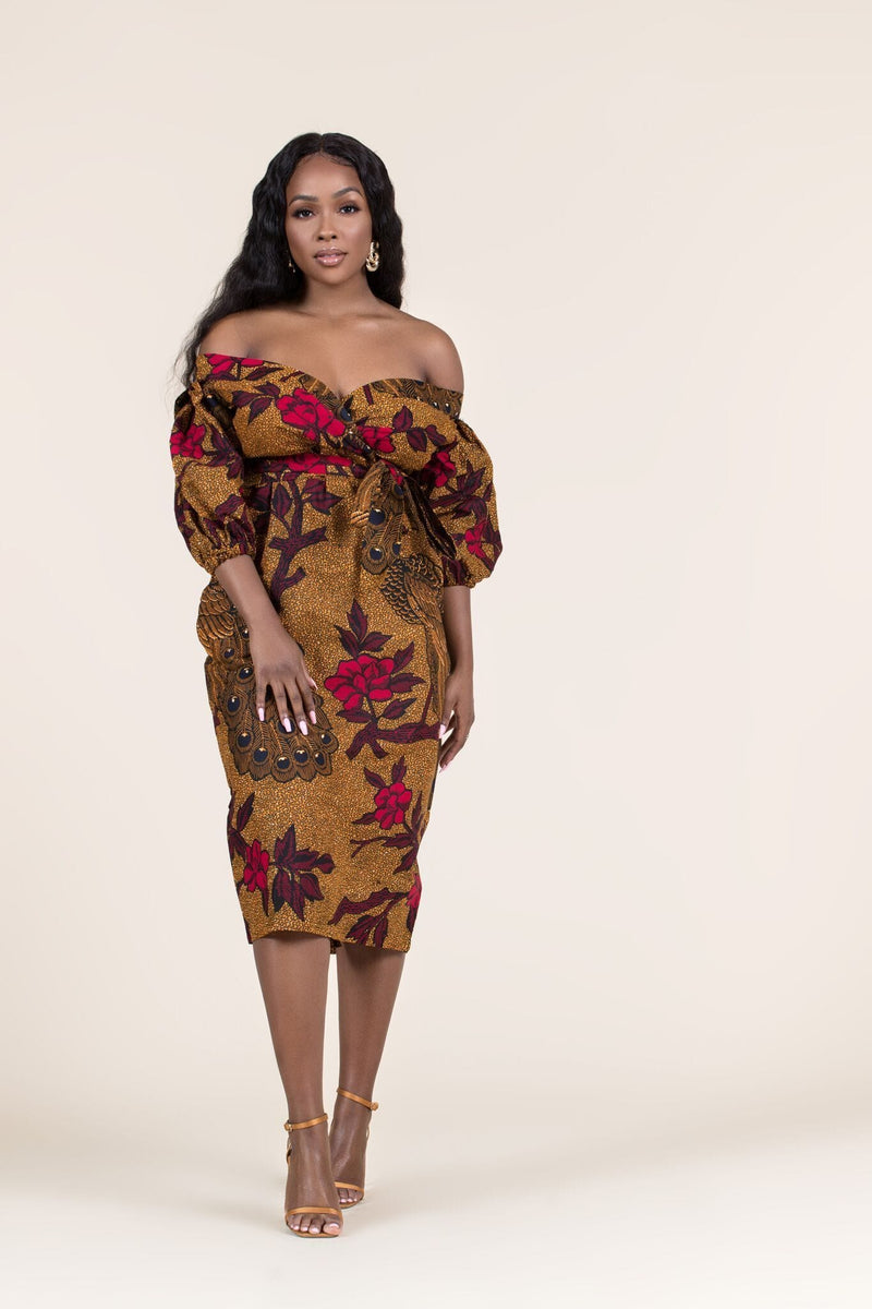 Grass-Fields Mid Lenght Dresses African Print Asha Off Shoulder Dress