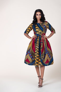 Grass-Fields Mid Lenght Dresses African Print Azy Dress