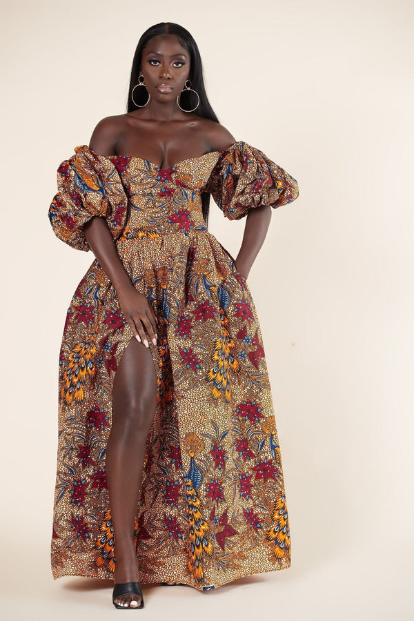 Grass-Fields Mid Lenght Dresses African Print Bessi Maxi Dress