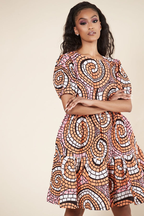 Grass-Fields Mid Lenght Dresses African Print Betty Dress