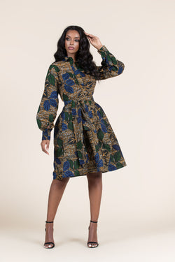 Grass-Fields Mid Lenght Dresses African Print Binah Shirt Dress