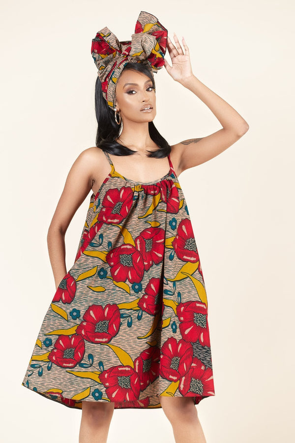 Grass-Fields Mid Lenght Dresses African Print Bria dress