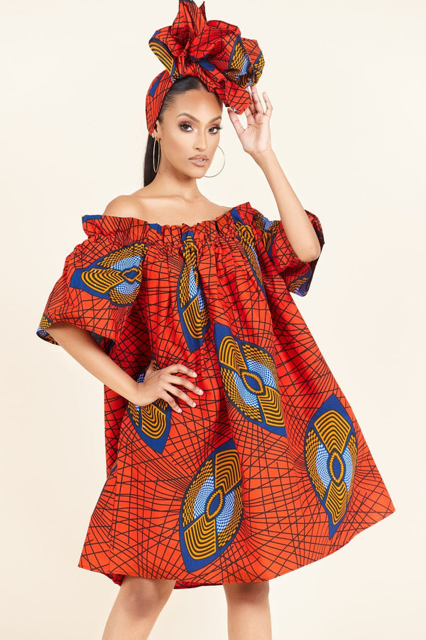 Grass-Fields Mid Lenght Dresses African Print Cece dress