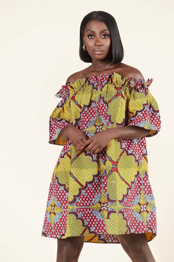 Grass-Fields Mid Lenght Dresses African Print Chi Chi Dress