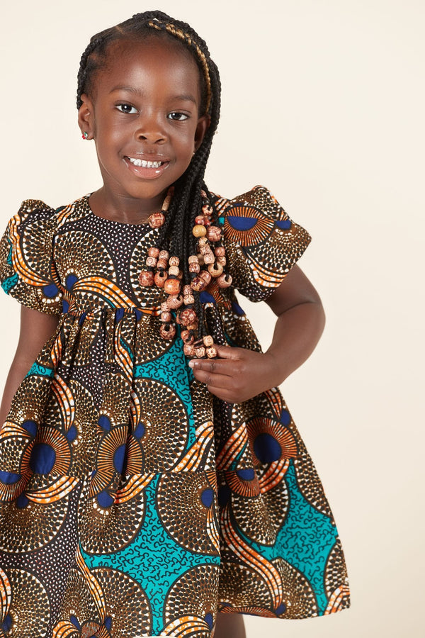 Grass-Fields Mid Lenght Dresses African Print Chigozie Kid's Dress