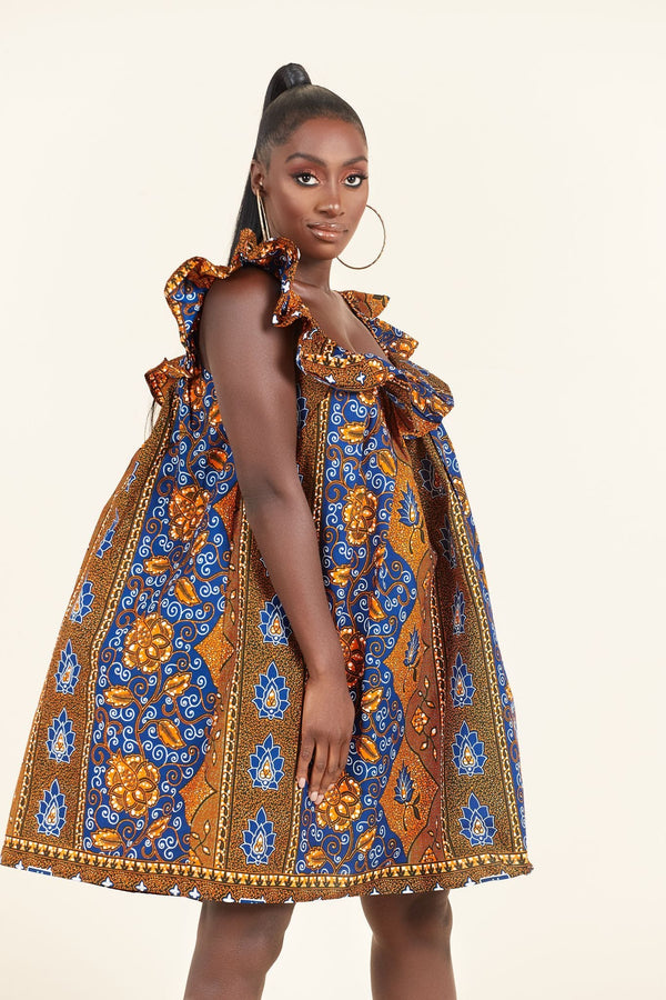 Grass-Fields Mid Lenght Dresses African Print Chima dress