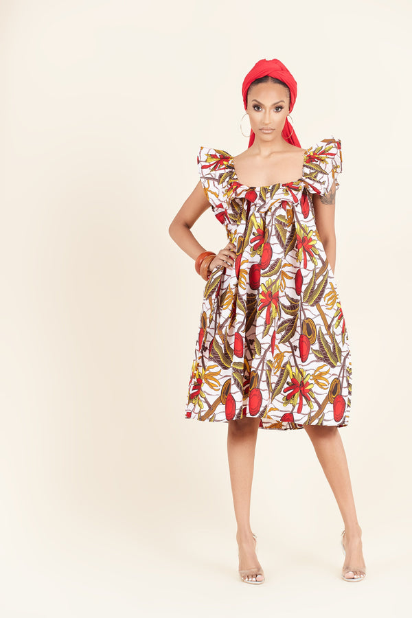 Grass-Fields Mid Lenght Dresses African Print Chimere dress