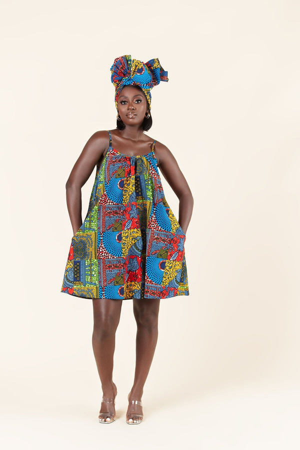 Grass-Fields Mid Lenght Dresses African Print Chinua dress
