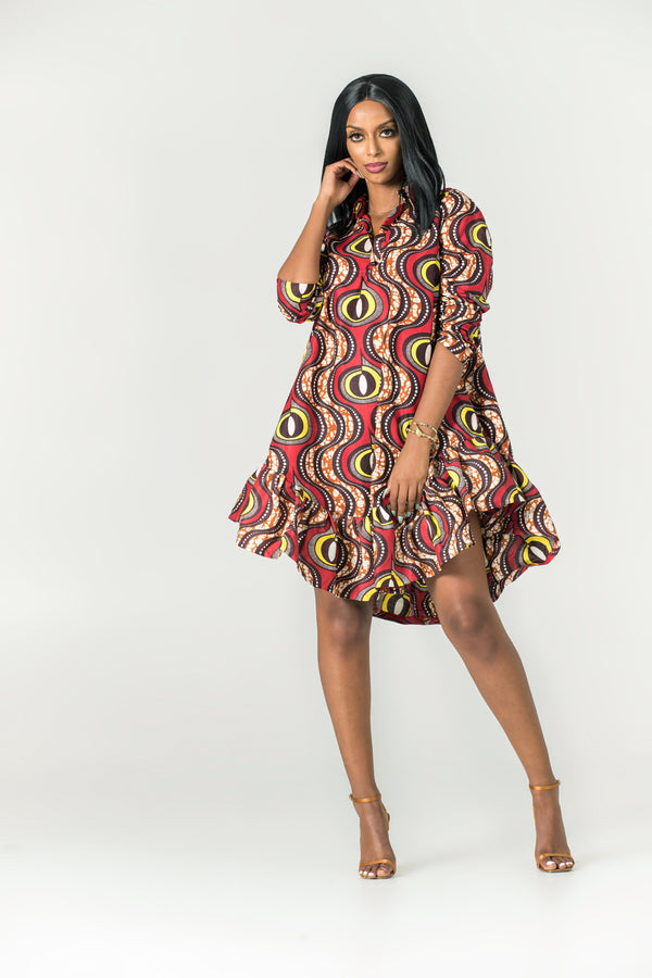Grass-Fields Mid Lenght Dresses African Print Cleotha Dress