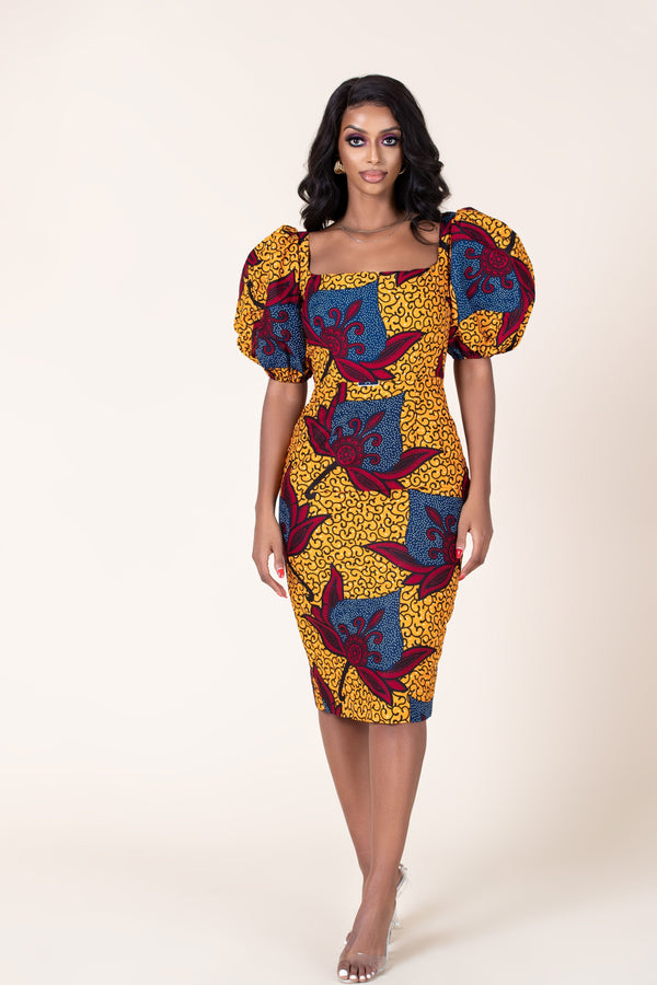 Grass-Fields Mid Lenght Dresses African Print Dawn Dress