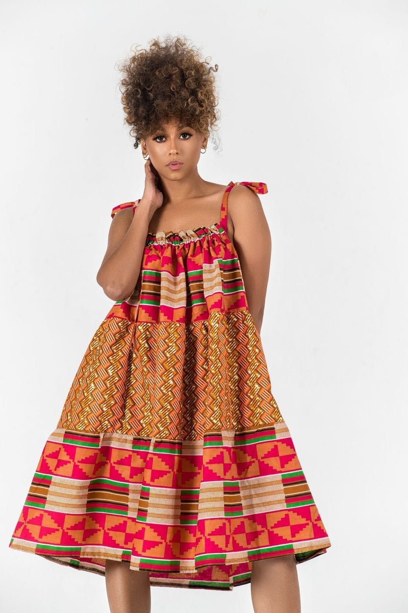 Grass-Fields Mid Lenght Dresses African Print Desina Dress