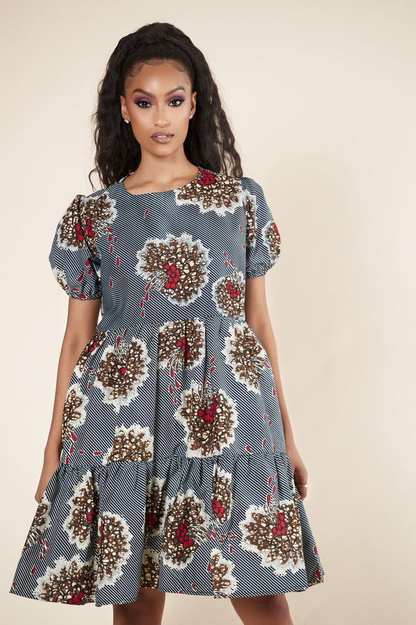 Grass-Fields Mid Lenght Dresses African Print Dinah Dress