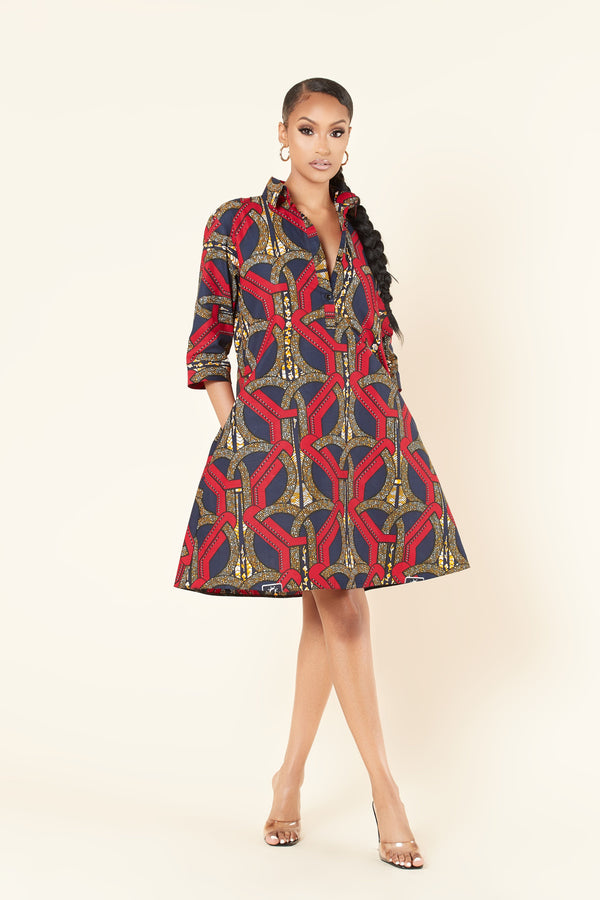 Grass-Fields Mid Lenght Dresses African Print Dione Shirt Dress