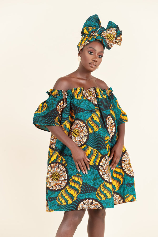 Grass-Fields Mid Lenght Dresses African Print Djamila Dress