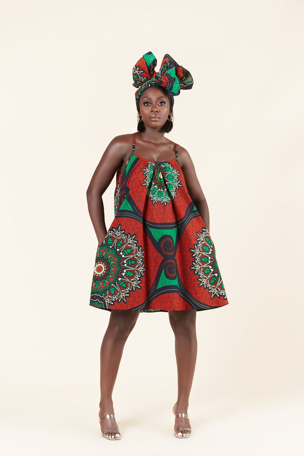 Grass-Fields Mid Lenght Dresses African Print Dofi dress