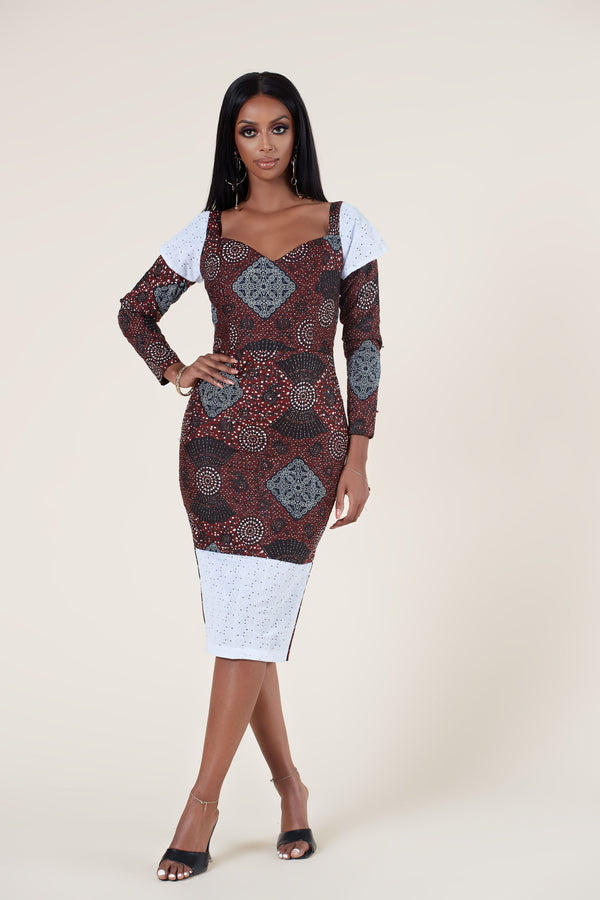 Grass-Fields Mid Lenght Dresses African Print Ella Dress