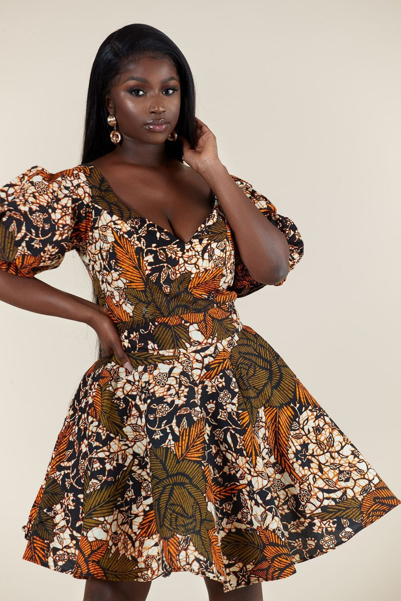 Grass-Fields Mid Lenght Dresses African Print Elna Dress