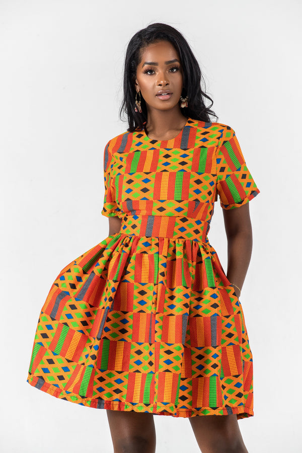 Grass-Fields Mid Lenght Dresses African Print Emiko Dress