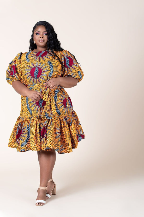 Grass-Fields Mid Lenght Dresses African Print Ester Dress
