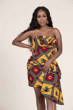 Grass-Fields Mid Lenght Dresses African Print Femi Dress