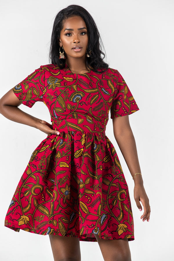 Grass-Fields Mid Lenght Dresses African Print Fenfang Dress
