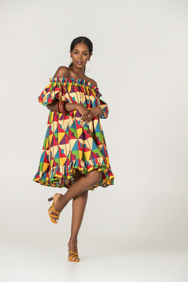 Grass-Fields Mid Lenght Dresses African Print Fenna Off Shoulder Dress