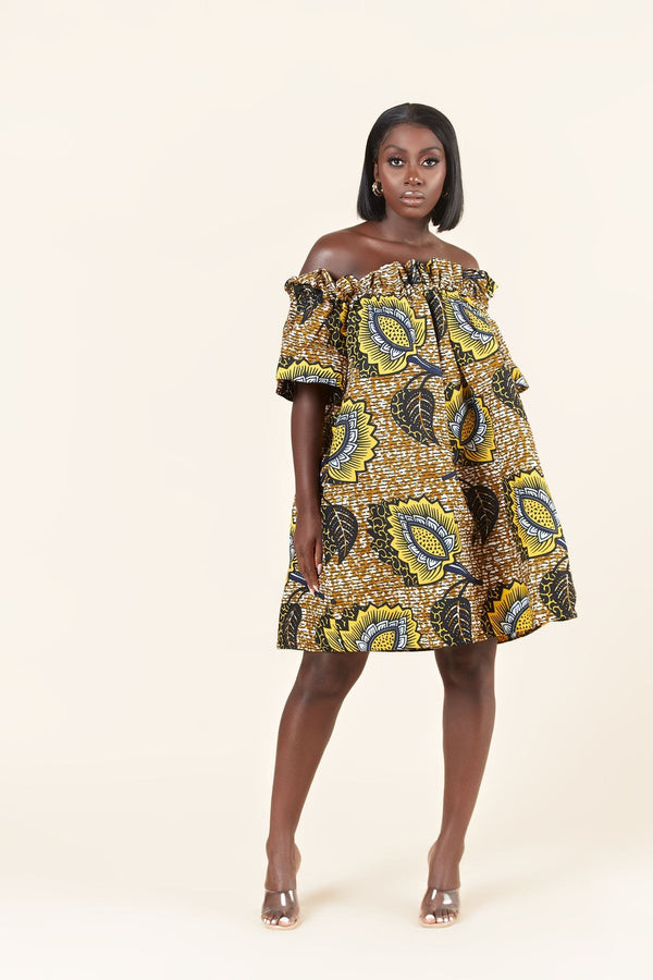 Grass-Fields Mid Lenght Dresses African Print Floria Dress