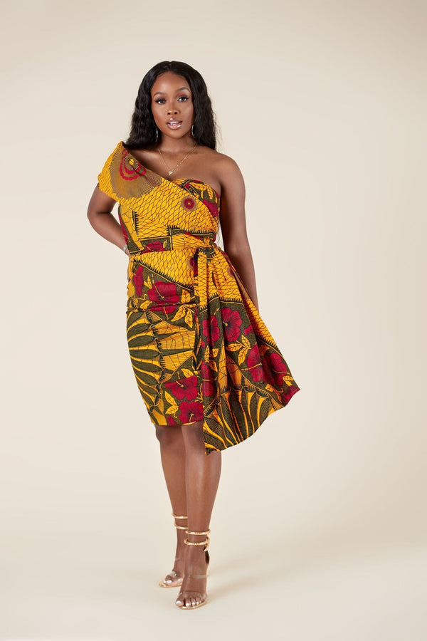 Grass-Fields Mid Lenght Dresses African Print Gasira Dress