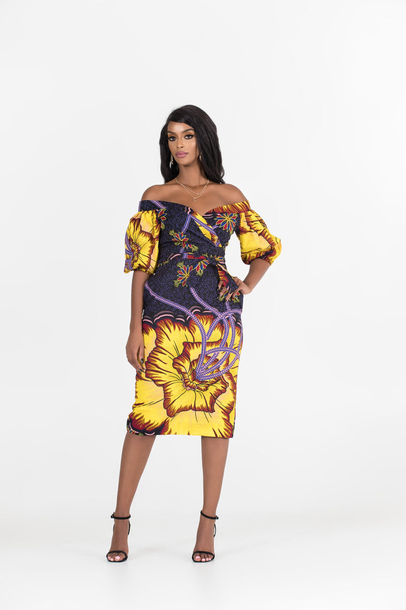 Grass-Fields Mid Lenght Dresses African Print Gina Off Shoulder Dress