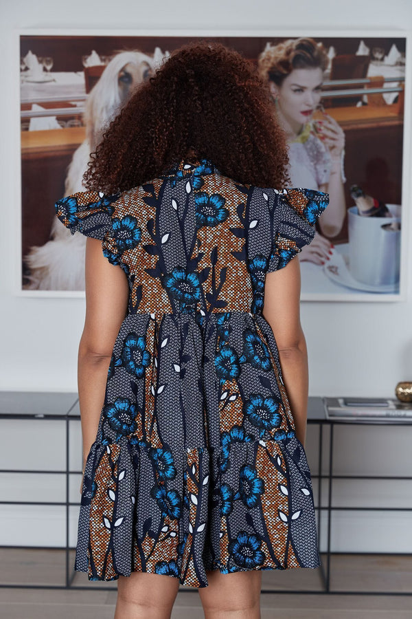Grass-Fields Mid Lenght Dresses African Print Hamisi Dress