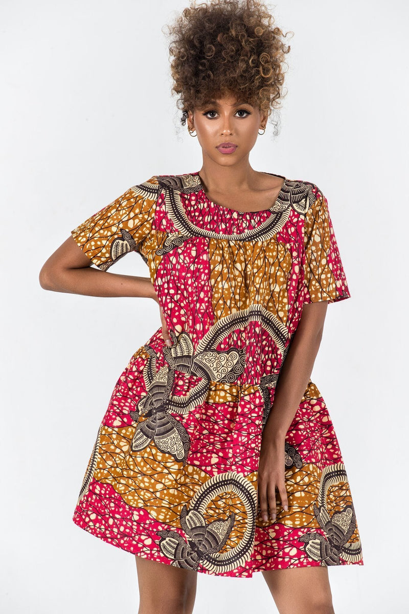 African Print Hanne Dress Mid Lenght Dresses Grass-Fields