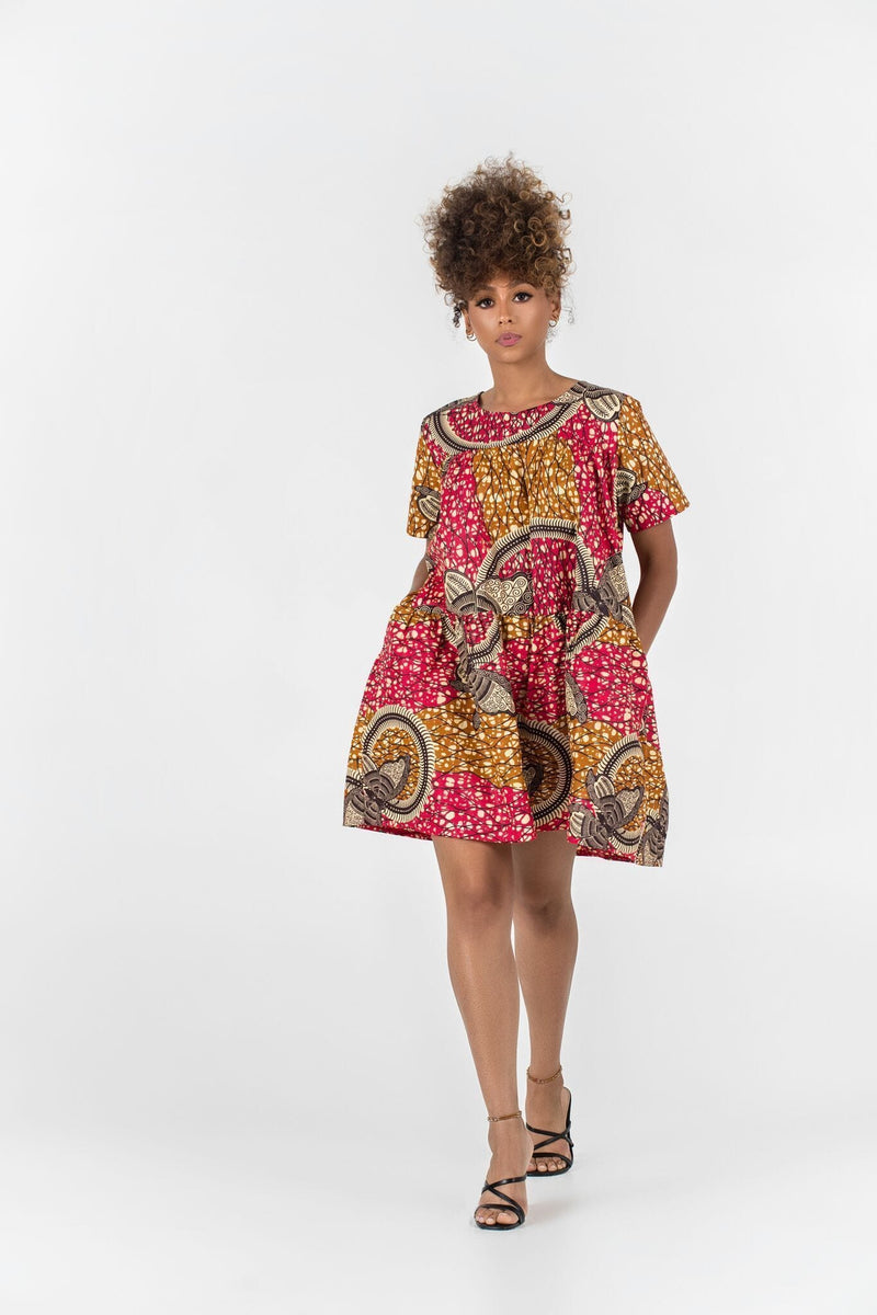 Grass-Fields Mid Lenght Dresses African Print Hanne Dress