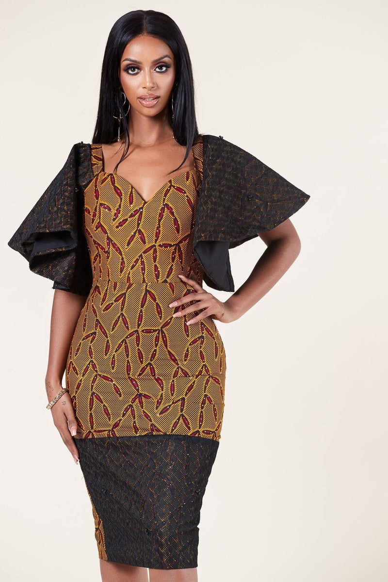 Grass-Fields Mid Lenght Dresses African Print Huda Dress