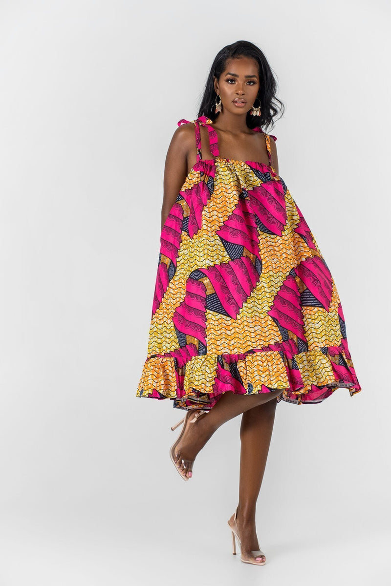 Grass-Fields Mid Lenght Dresses African Print Idrissa Dress