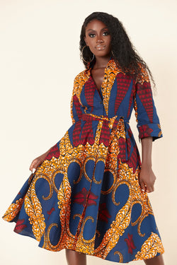 Grass-Fields Mid Lenght Dresses African Print Isha Shirt Dress
