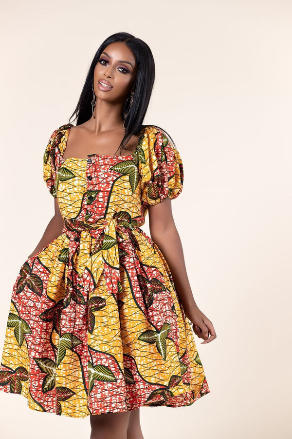 Grass-Fields Mid Lenght Dresses African Print Isoken dress