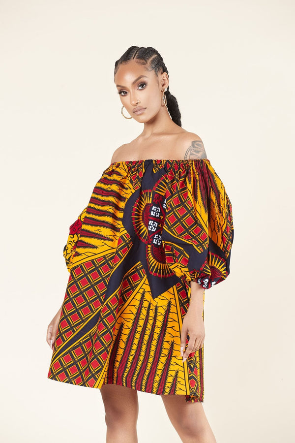Grass-Fields Mid Lenght Dresses African Print Jaafan Dress