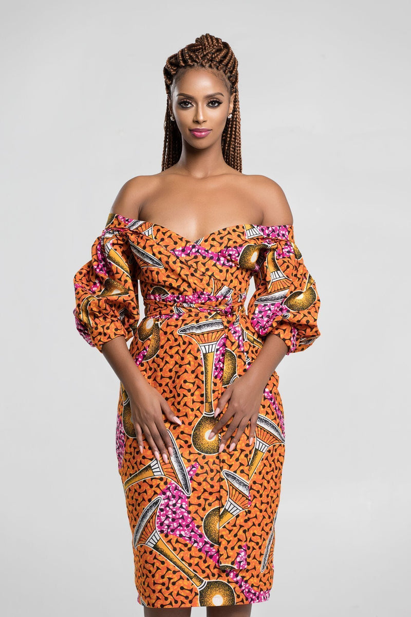 Grass-Fields Mid Lenght Dresses African Print Jaiyesimi Midi Dress