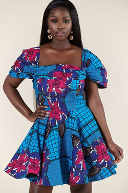 Grass-Fields Mid Lenght Dresses African Print Jendayi Dress