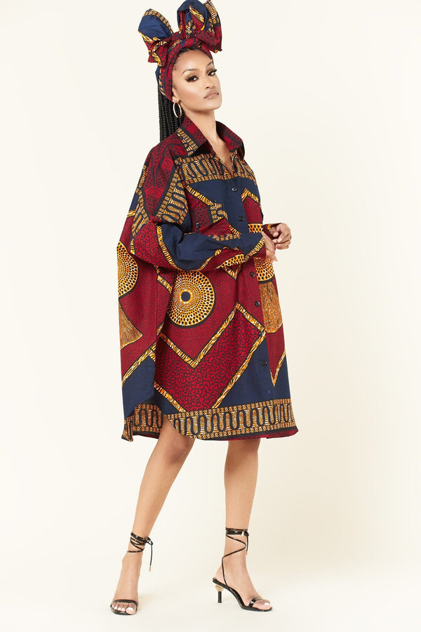 Grass-Fields Mid Lenght Dresses African Print Jenna Dress