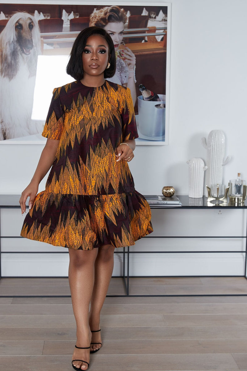 Grass-Fields Mid Lenght Dresses African Print Jetta Dress