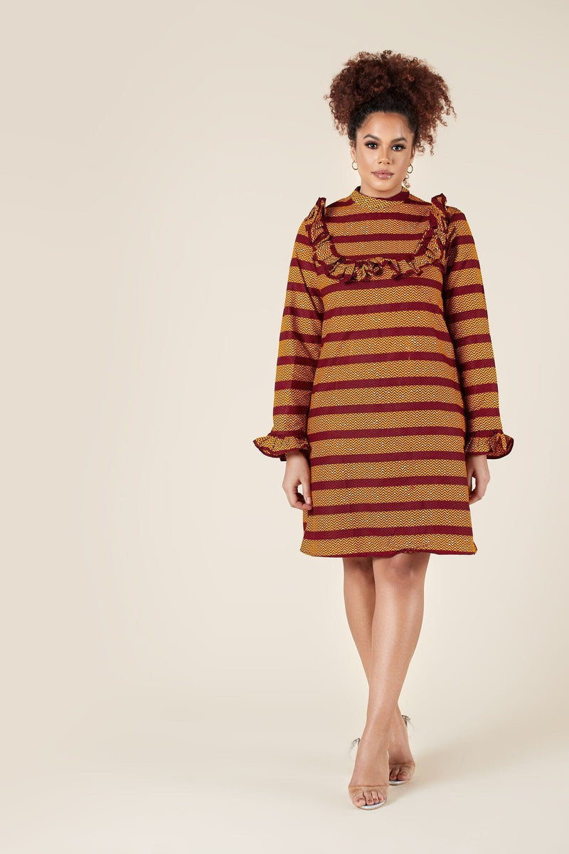 Grass-Fields Mid Lenght Dresses African Print Johari Dress