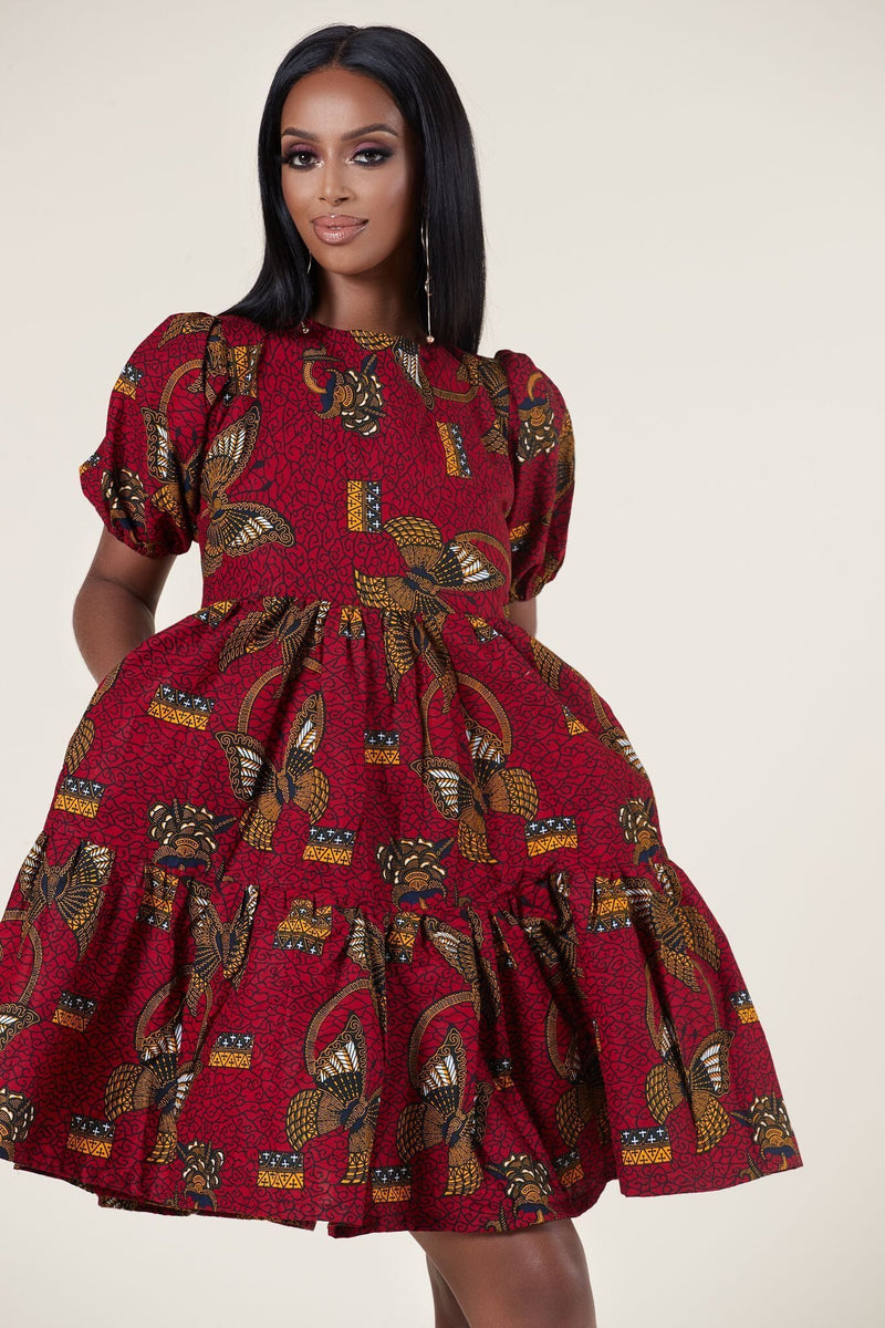 Grass-Fields Mid Lenght Dresses African Print Joy dress