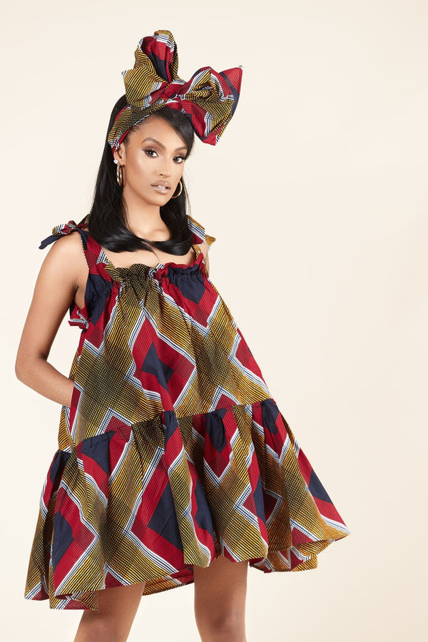 Grass-Fields Mid Lenght Dresses African Print Julie Dress