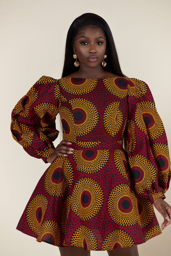 Grass-Fields Mid Lenght Dresses African Print Kagiso Dress