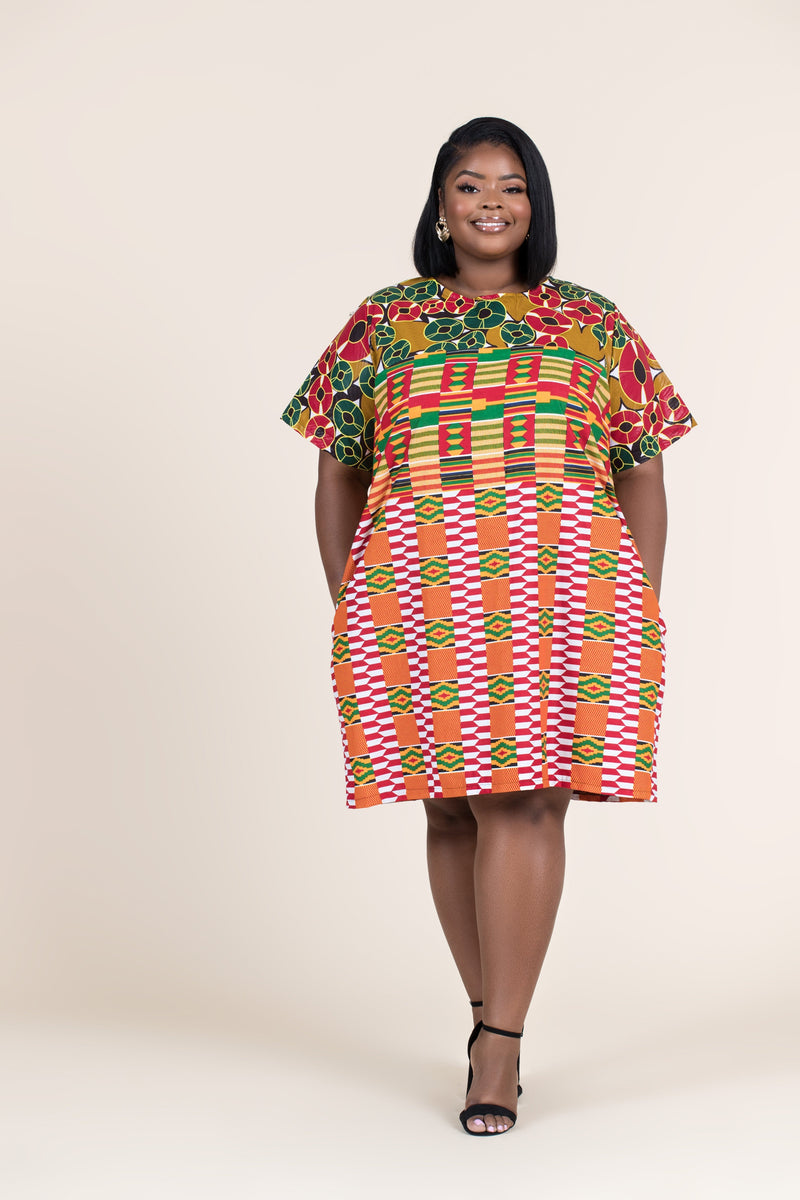 Grass-Fields Mid Lenght Dresses African Print Kamaria Shift Dress