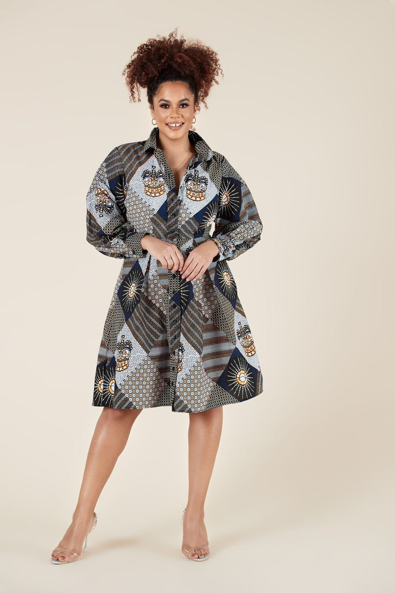 Grass-Fields Mid Lenght Dresses African Print Kamaria Shirt Dress